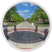 Campus Seal On The Campus Of The University Of Oklahoma Round Beach Towel