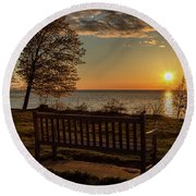 Round Beach Towel featuring the photograph Campus Sunset by Rod Best