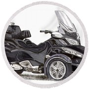 Round Beach Towel featuring the painting Can-am Spyder Trike by Jack Pumphrey