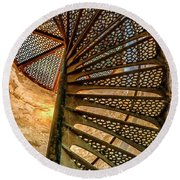Cana Island Lighthouse Staircase Round Beach Towel