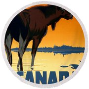 Canada Big Game Vintage Travel Poster Restored Round Beach Towel