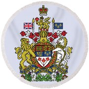 Round Beach Towel featuring the drawing Canada Coat Of Arms by Movie Poster Prints