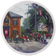 Canada Day Parade At Glen Williams  On Round Beach Towel