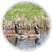 Round Beach Towel featuring the photograph Canada Geese by Debbie Stahre