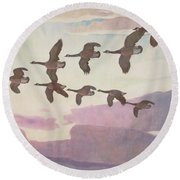 Canada Geese In Spring Round Beach Towel
