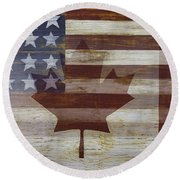 Canadian American Flag Round Beach Towel