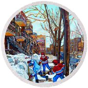 Canadian Art Street Hockey Game Verdun Montreal Memories Winter City Scene Paintings Carole Spandau Round Beach Towel