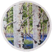 Canadian Autumn Birch Round Beach Towel