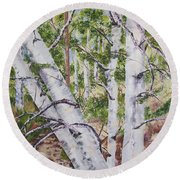 Canadian Birch Trees Round Beach Towel by Lisa Boyd