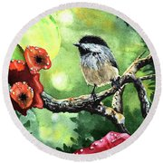 Canadian Chickadee Round Beach Towel