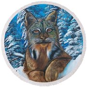 Canadian Lynx Round Beach Towel