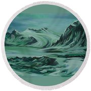 Round Beach Towel featuring the painting Canadian North by Anna  Duyunova