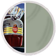 Canadian Pacific - Railroad Engine, Mountains - Retro Travel Poster - Vintage Poster Round Beach Towel