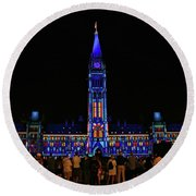 Canadian Parliament Light Show Round Beach Towel