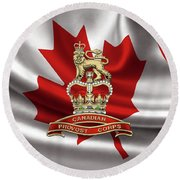 Canadian Provost Corps - C Pro C Badge Over Canadian Flag Round Beach Towel by Serge Averbukh