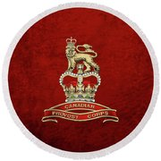Canadian Provost Corps - C Pro C Badge Over Red Velvet Round Beach Towel by Serge Averbukh