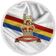 Canadian Provost Corps - C Pro C Badge Over Unit Colours Round Beach Towel by Serge Averbukh