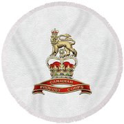 Canadian Provost Corps - C Pro C Badge Over White Leather Round Beach Towel by Serge Averbukh