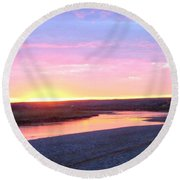Canadian River Sunset Round Beach Towel