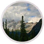 Canadian Rockies, Alta. Round Beach Towel by Elfriede Fulda