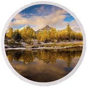 Canadian Rockies Golden Larches And Towering Peaks Round Beach Towel
