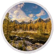 Canadian Rockies Golden Larches In Larch Valley Round Beach Towel