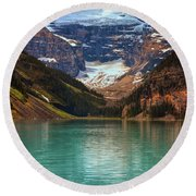 Canadian Rockies In Alberta, Canada Round Beach Towel