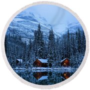 Canadian Rockies Winter Lodges Snow Reflection Round Beach Towel