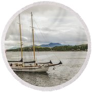 Round Beach Towel featuring the photograph Canadian Sailing Schooner by Timothy Latta