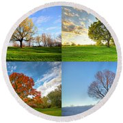 Canadian Seasons Round Beach Towel by Mircea Costina Photography