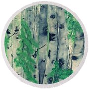 Round Beach Towel featuring the painting Canadian White  Poplar by Sharon Duguay