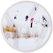 Round Beach Towel featuring the photograph Canadiana by John Poon
