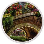 Canal And Bridge  Round Beach Towel