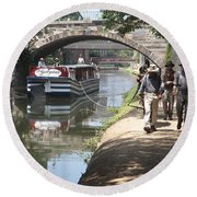 Canal Boat And Mule Team On The C And O Canal In Georgetown In Washington Dc Round Beach Towel