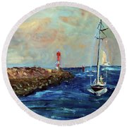 Canal Entrance Round Beach Towel