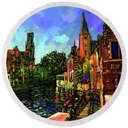 Canal In Bruges Round Beach Towel