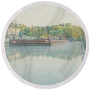 Round Beach Towel featuring the photograph Canal In Pastels by Everet Regal