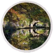 Canal Path In Autumn Round Beach Towel