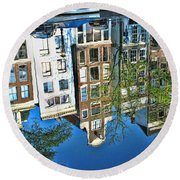Round Beach Towel featuring the photograph Amsterdam Canal Reflection  by Allen Beatty