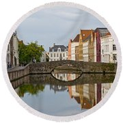 Canal Reflections Round Beach Towel