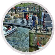 Round Beach Towel featuring the photograph Amsterdam Canal Scene 1 by Allen Beatty