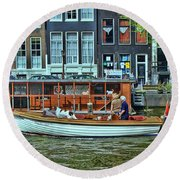 Round Beach Towel featuring the photograph Amsterdam Canal Scene 10 by Allen Beatty