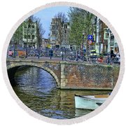 Round Beach Towel featuring the photograph Amsterdam Canal Scene 3 by Allen Beatty