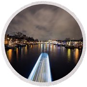 Canal Streaking I Round Beach Towel