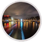 Canal Streaking IIi Round Beach Towel