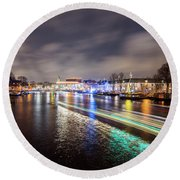 Canal Streaking Iv Round Beach Towel