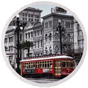 Canal Street Trolley Round Beach Towel