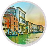Canal Sunset - Venice Round Beach Towel