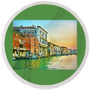 Canal Sunset - Venice Round Beach Towel by Tom Cameron