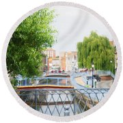 Canal View In Amiens Round Beach Towel by Therese Alcorn